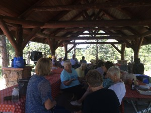 Great conversations under the picnic shelter
